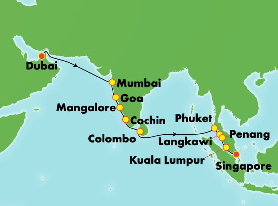 14-Day from Dubai to Singapore: India, Thailand, Malaysia & Sri Lanka