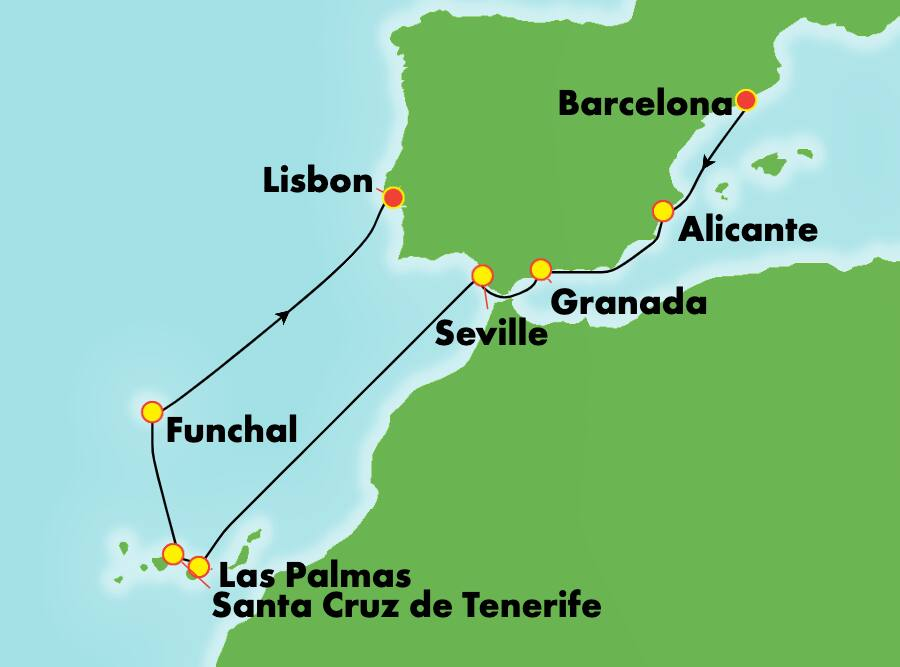 9-Day Mediterranean from Barcelona to Lisbon: Spain, Canary Islands & Madeira
