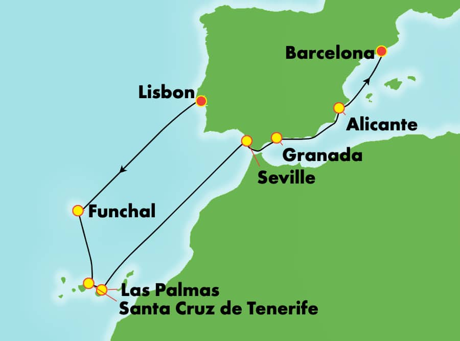 9-Day Mediterranean from Lisbon to Barcelona: Spain, Canary Islands & Maderia