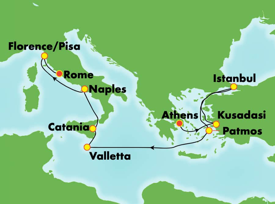 9-Day Mediterranean from Athens to Rome: Italy, Greece, Turkey & Malta