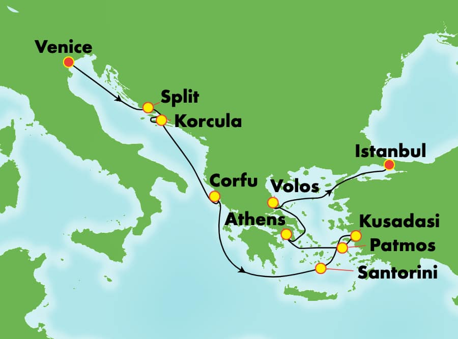 9-Day Greek Isles from Venice to Istanbul: Santorini, Athens & Croatia