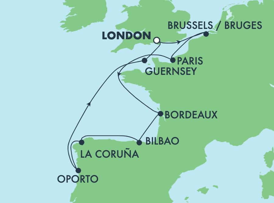 10-Day Europe Round-Trip London: France, Spain, Portugal & Belgium
