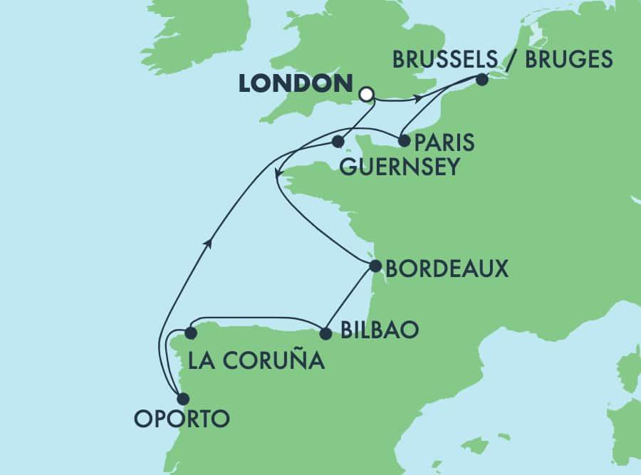 ヨーロッパクルーズ 10日間 ロンドン発着:フランス、スペイン、ポルトガル&ベルギー
