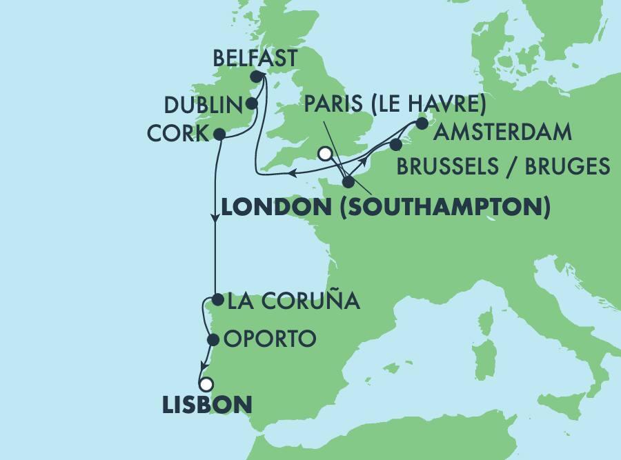 שייטבן11 ימיםבאירופהמלונדוןלליסבון: צרפת, ספרד, אירלנד ופורטוגל