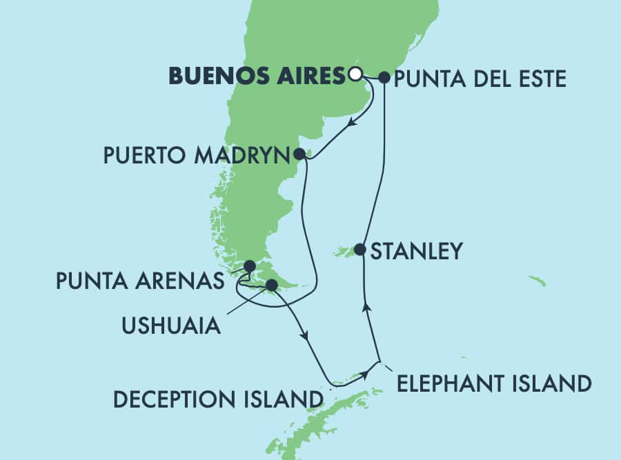 14-Day Antarctica & South America Round-trip Buenos Aires