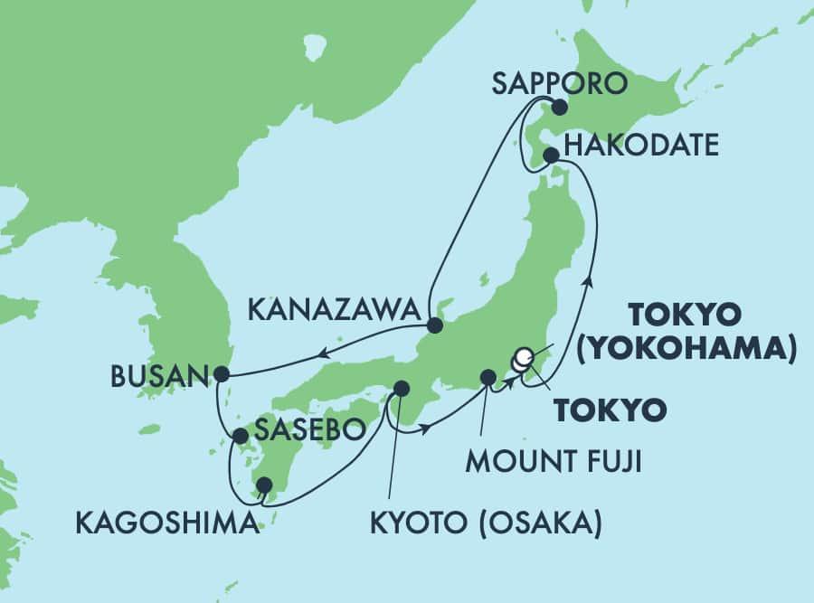 שייט בן 12 ימים לאסיה מטוקיו לטוקיו: אוסקה, סאפורו, בוסאן והקודאטה