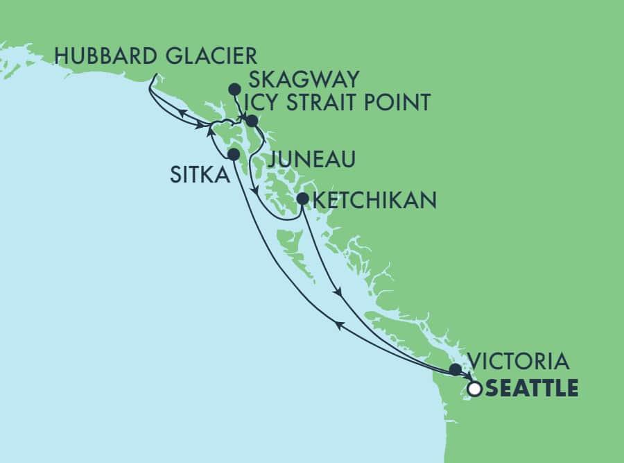 שייט בן 9 ימים הלוך ושוב לאלסקה מסיאטל: קרחון האברד, סקאגוויי וג'ונו