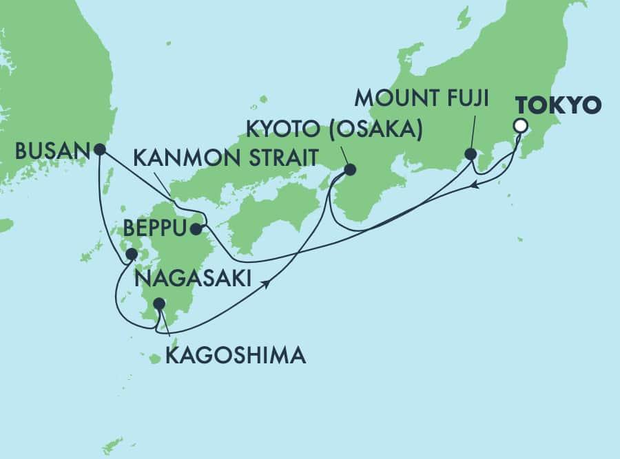 日本クルーズ 9日間 東京発着:大阪、釜山、別府、清水