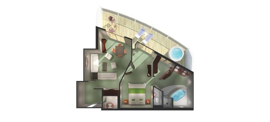 תכנית הקומה של סוויטת הבעלים עם מרפסת גדולה