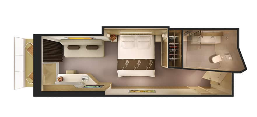 Floor plan Mini-Suite with Balcony and Access to Thermal Spa