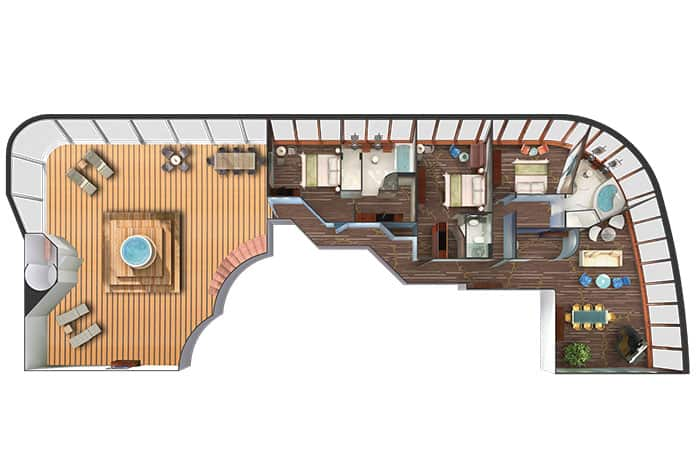 Norwegian Dawn's 3-Bedroom Garden Villa Floor Plan