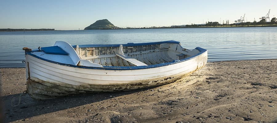 Dinghy on a sandy beach on a Tauranga Cruise