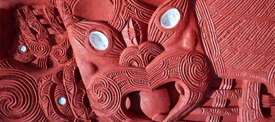 Maori carving on a Tauranga Cruise