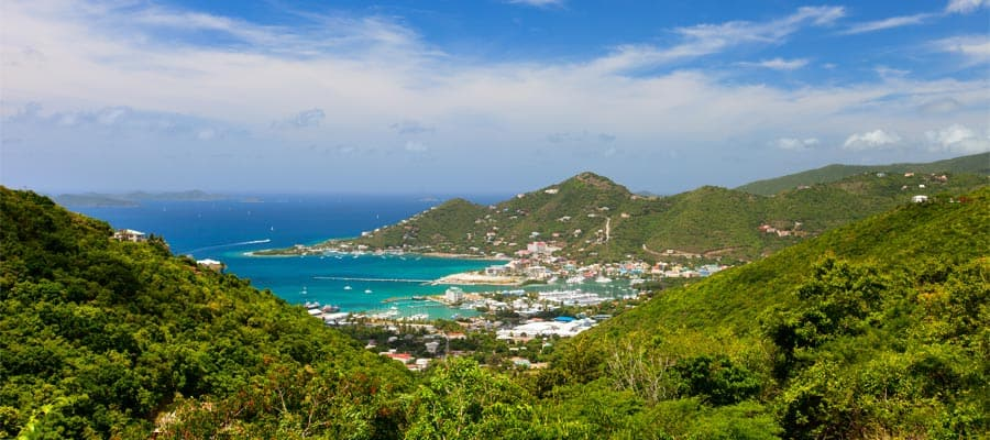 Aerial of Tortola on your Caribbean cruise
