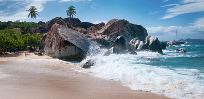 Volcanic rocks form idyllic grottos at The Baths in Tortola