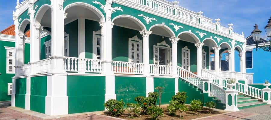 Quaint architecture in Willemstad on your Caribbean cruise