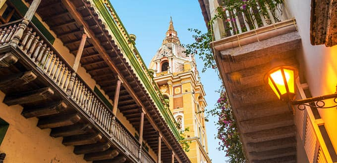 Stunning colonial architecture towers over the streets of Cartagena