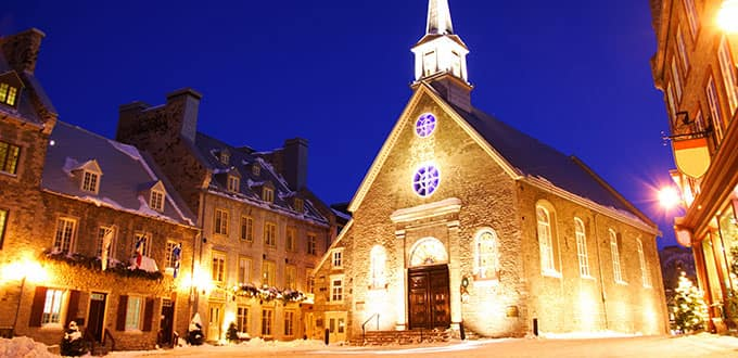 See famous Quebec City landmarks like the church at Place Royal