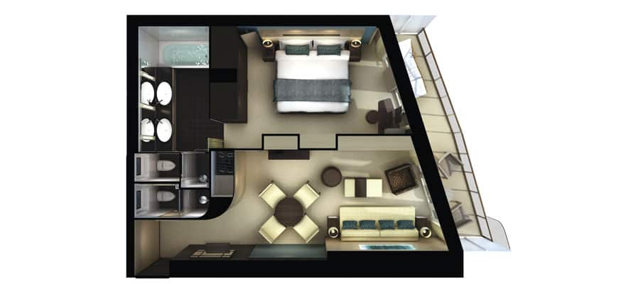 Floor plan The Haven Aft-Facing Penthouse with Master Bedroom & Large Balcony