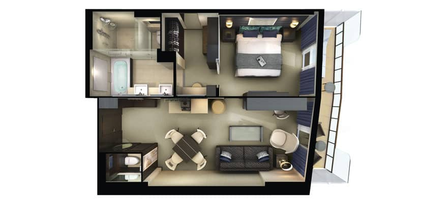 Plan de la cabine The Haven Owner's Suite avec grand balcon