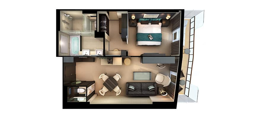 Plano de The Haven Owner's Suite con balcón grande