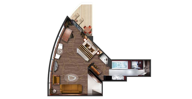 Plan de la cabine The Haven Deluxe Owner's Suite avec grand balcon