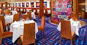 Norwegian Jade cruise ship Alizar Main Dining Room inspired by Mark Rothko's art