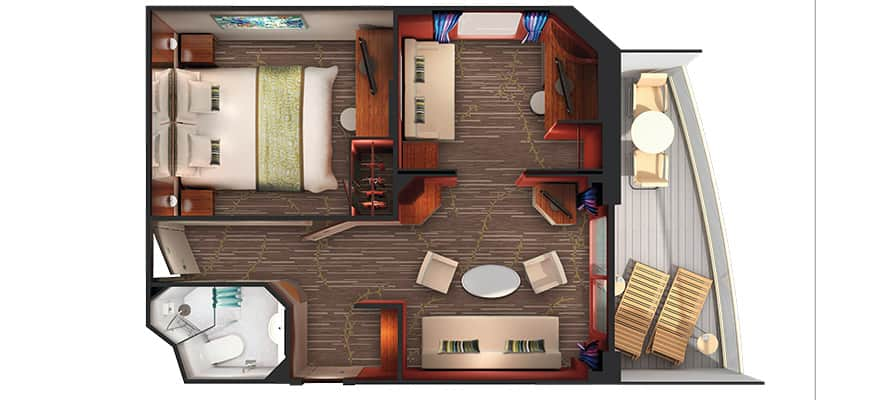 Floor plan 2-Bedroom Aft-Facing Family Suite with Balcony