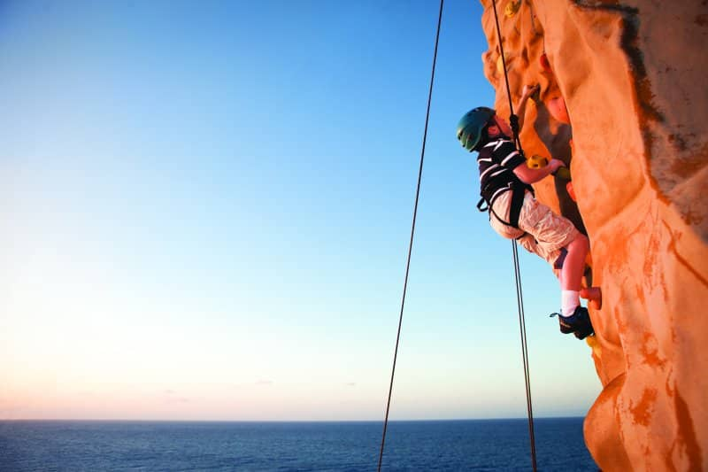 Rock Climbing Wall on Cruise Ship