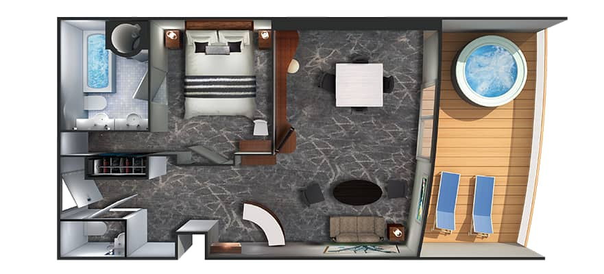 Plan de la cabine The Owner's Suite avec grand balcon