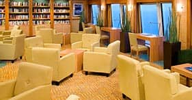 Norwegian Pearl cruise ship Library with view.