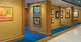 Pride of America cruise ship SoHo Art Gallery with a wide range of paintings.