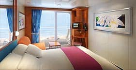 Pride of America cruise ship Balcony Stateroom with two beds, floor-to-ceiling g