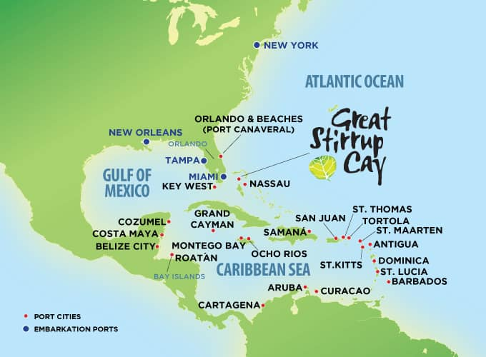 Caribbean Cruises Ports Map