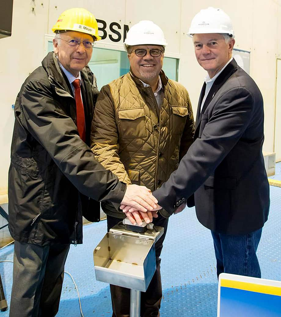Norwegian Cruise Line Holdings Ltd. President and Chief Executive Officer Frank Del Rio (center) joins NCLH Executive Vice President of Vessel Operations Robin Lindsay (right) and MEYER WERFT Managing Partner Bernard Meyer (left)