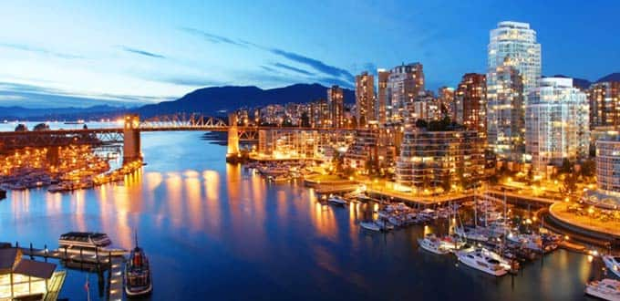 A night along the shimmering coast of Vancouver